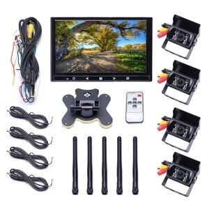 """Image 5 - Podofo 9 """"polegadas monitor de carro sem fio tft câmeras de backup do carro monitor para caminhão estacionamento retrovisor sistema câmeras traseiras tensão 12 24v"""