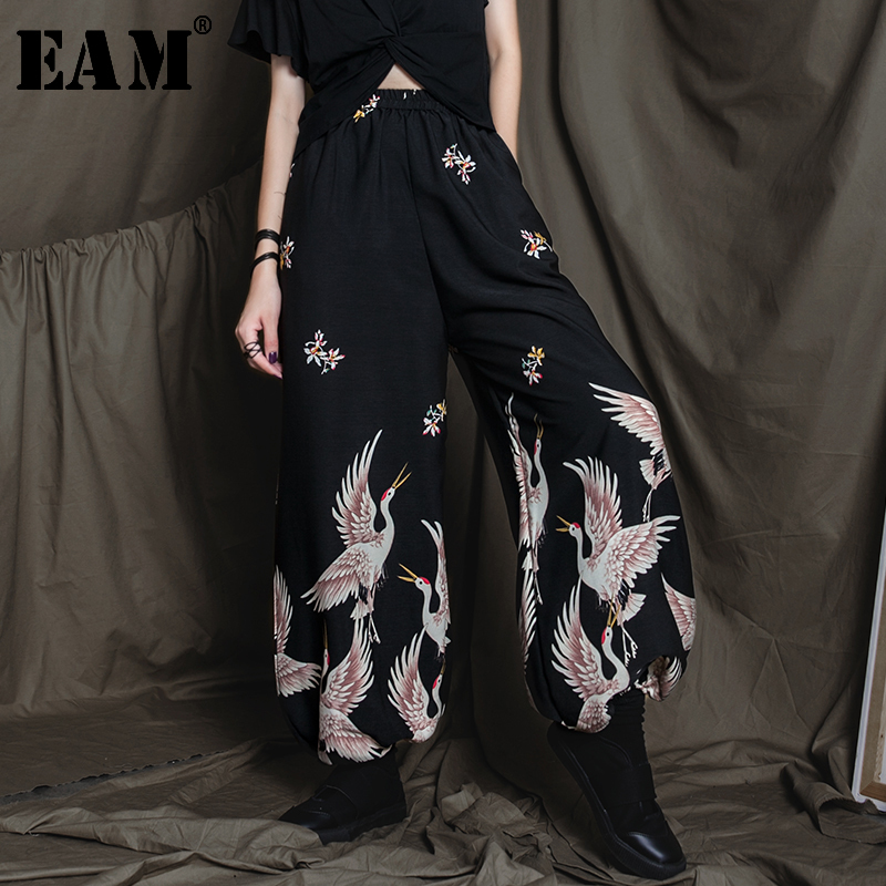 [EAM] High Elastic Waist Black Pattern Printed Long Wide Leg Trousers New Loose Fit Pants Women Fashion Spring Autumn 2020 LA770