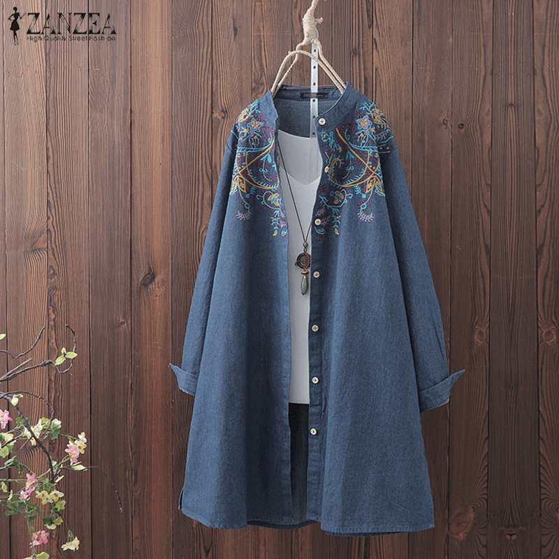 ZANZEA Autumn Long Sleeve Denim Blue Blouse Women Vintage Embroidery Shirt Blusas Femininas Tunic Tops Plus Size Casual Blouses
