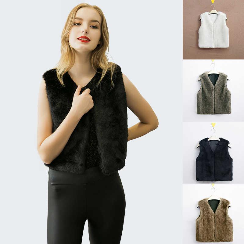 Nuevo abrigo de piel sintética a la moda de invierno para mujer, chaleco de piel con cuello en V, chaqueta de piel de estilo corto, chaleco sin mangas para Otoño e Invierno para mujer