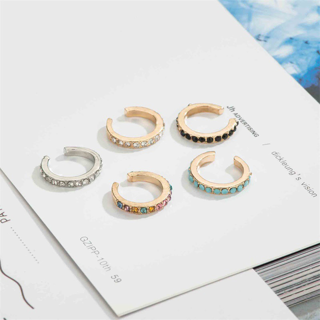 Thin Clip-On Crystal Band Earring
