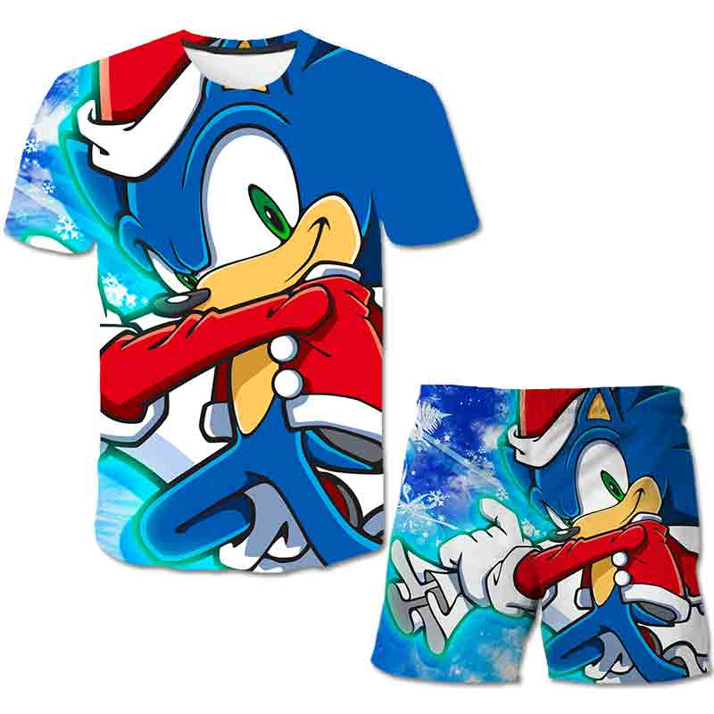 Summer Sonic the Hedgehog T-Shirt 3D Baby Boy Clothing Set Cute Cartoon Children Boys Clothes tops Shorts Suit for Kids Outfit 6