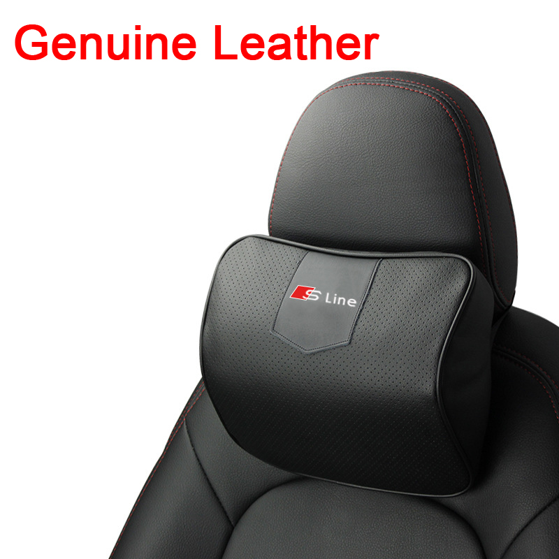 LUNDA Genuine Leather Auto Car Neck Pillow Memory Foam Headrest For Audi A1 A3 A4 A6 A8 Q2 Q3 Q5 Q7 S3 S5 TT R8 RS5 RS6 RS7