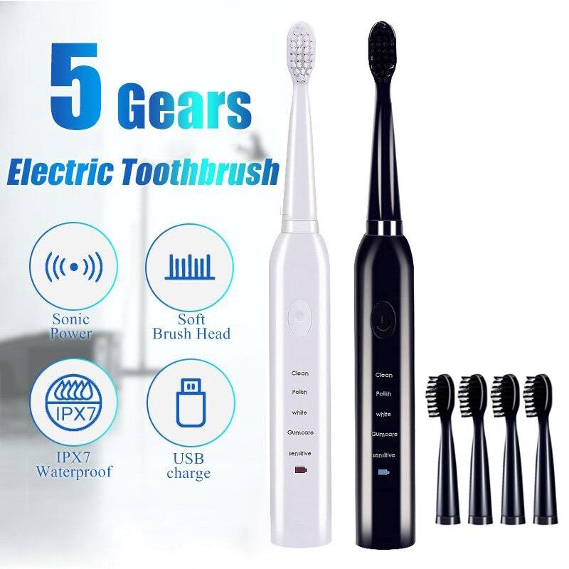 Ultra sonic sonic escova de dentes elétrica carga usb recarregável escovas de dentes com 4 pcs substituição cabeças temporizador escova de dentes