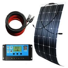 лучшая цена 100W 12V Semi Flexible Solar Panel Kit Battery Charger w/ Controller Car RV Boat Mounting Bracket DC Cable High Efficiency