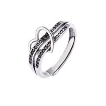 Vintage Wedding Rings Love Heart Finger Ring For Women Two Layer Jet Stone Cross 925 Sterling Silver Rings Valentine's Day Gifts(China)