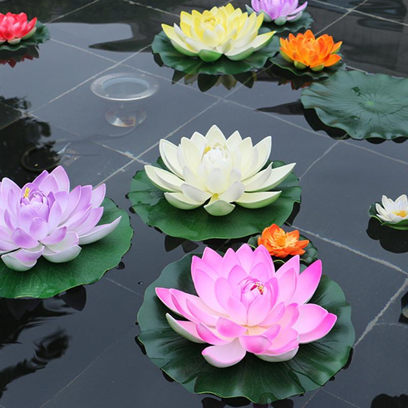 5pcs Artificial Floating Water Lily EVA Lotus Flower Pond Decor 10cm Artificial Lotus Pond Tank Plant Ornament Home Garden Decor