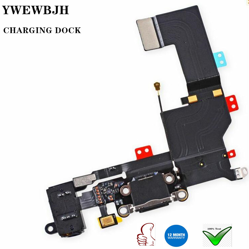 YWEWBJH Charging Port Dock USB <font><b>Connector</b></font> Flex For <font><b>iPhone</b></font> 5 5S 6 <font><b>6S</b></font> 7 8 Plus Headphone Audio Jack Microphone Flex cable image