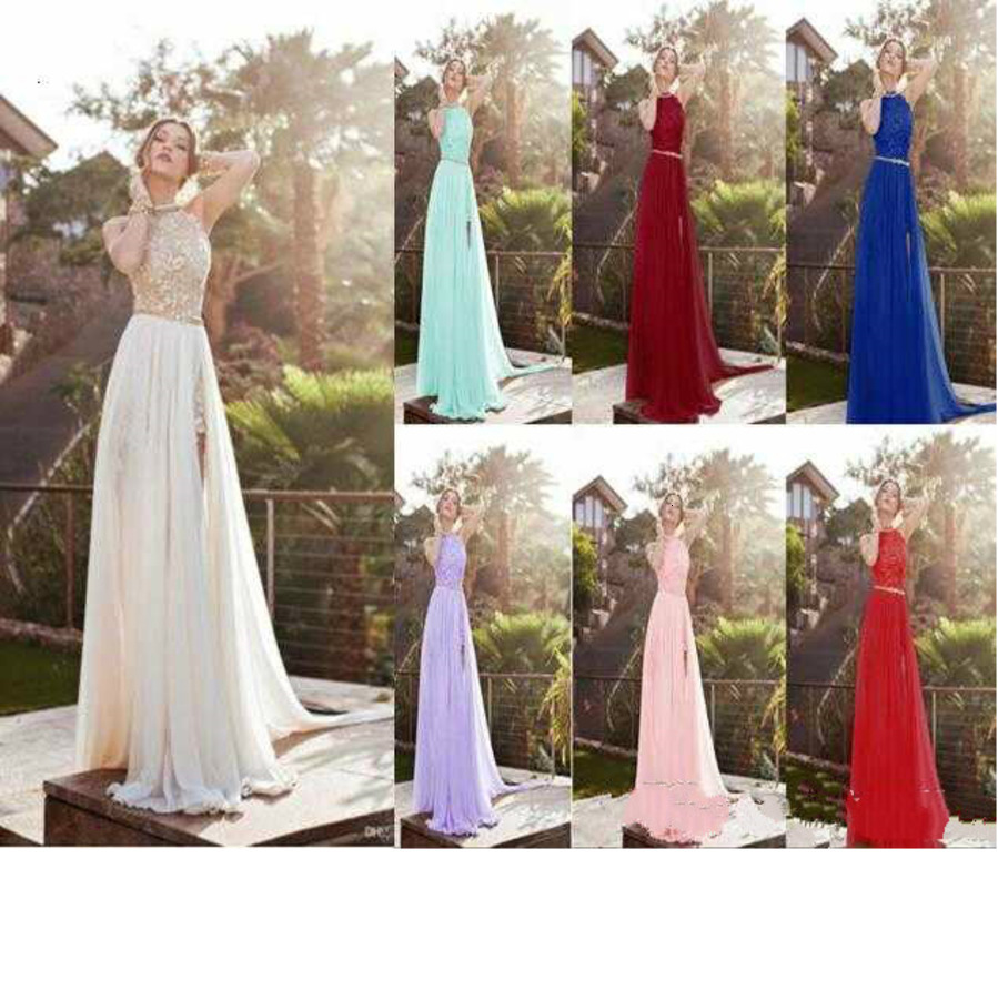 2020 Halter Lace Top Sexy Backless Beach Prom Dresses Cheap Eight Colors In Stock Split Evening Gown Boho Dresses CPS231