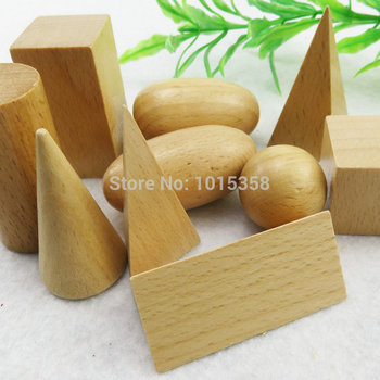 Free shipping Kids Wooden Montessori geometry teaching AIDS 10PCS wood Blocks Toys, Classic Educational wooden Froebel Baby toy free shipping montessori teaching aids children wooden rainbow tower balance toys children clown balance blocks