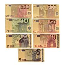 7 sztuk/partia 5 10 20 50 100 200 500 EUR złote banknoty w 24K złoto fałszywe pieniądze papierowe do kolekcji zestawy banknotów Euro
