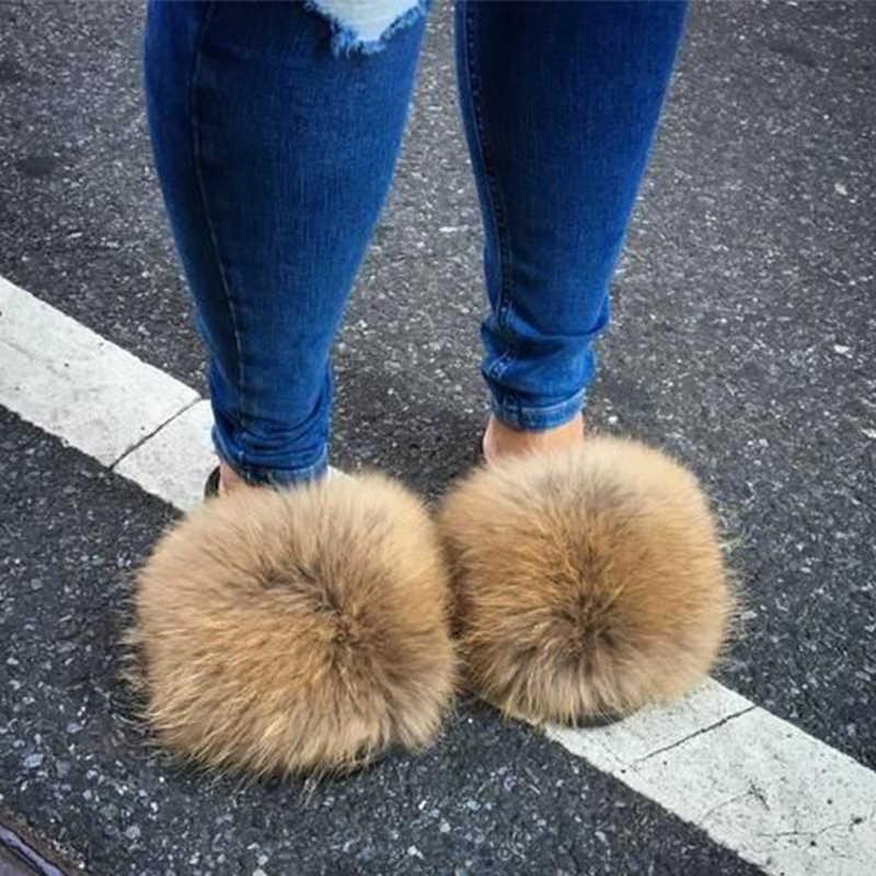 ใหม่มาถึงสาวหรูหราFluffyรองเท้าแตะสุภาพสตรีในร่มอบอุ่นFurry Fur Flip Flopsผู้หญิงAmazing Plush Furสไลด์ขายส่งร้อน