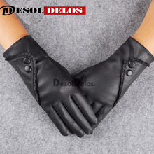 2019 Fashion Women christmas gloves warm Lady Soft Leather Gloves Winter Warm Mitten Xmas Gift Black Mittens
