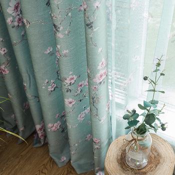 Zasłony do salonu sypialnia ogród amerykańskie półcieniowanie rozdrobnione zasłony kwiatowe wykończone na okno sięgające podłogi płaskie tkaniny okienne tanie i dobre opinie ZJBYZHOUSEHOLD Translucidus (stopień zaciemnienia 41 -85 ) Kurtyny Otwieranie po lewej i po prawej stronie CN (pochodzenie)