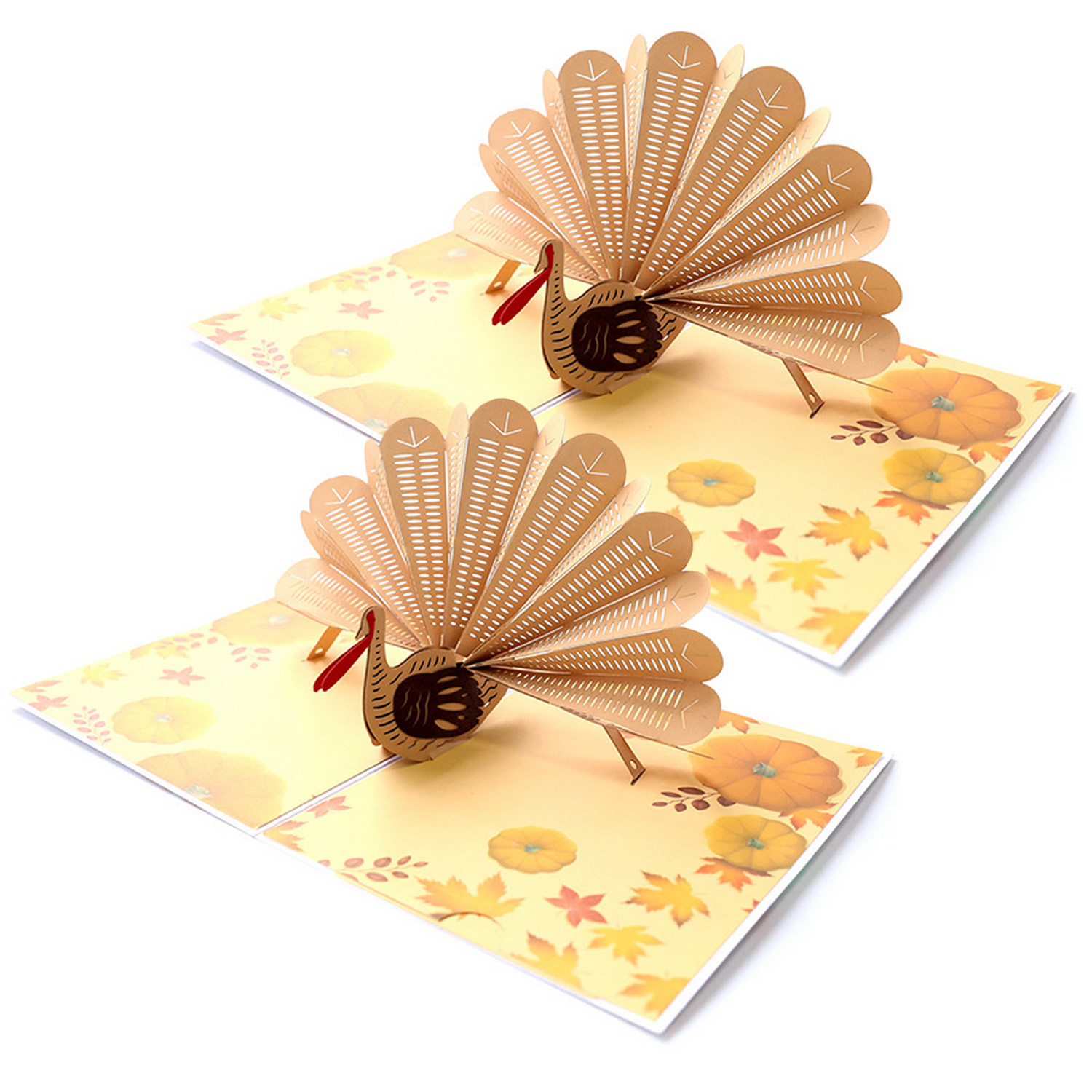 2PCS Funny 3D Pop-up Turkey Greeting Holiday Thank You Cards With Envelops For Thanksgiving Halloween Christmas Birthday Wedding