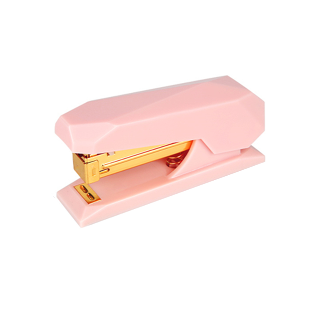 Premium Pink Spring Powered Stapler Heavy Duty No-Jam Desktop Office Staplers With Non-slip Base Gold Rod 20 Sheets Capacity