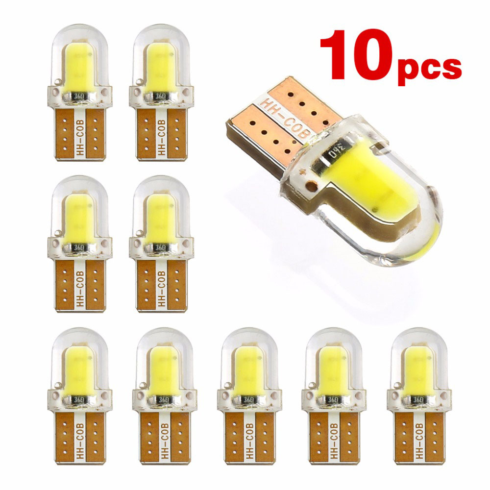 10Pcs Turn Side Lamp T10 194 168 <font><b>W5W</b></font> <font><b>COB</b></font> 8SMD <font><b>LED</b></font> <font><b>CANBUS</b></font> Waterproof Silica Bright White License Light Bulb image
