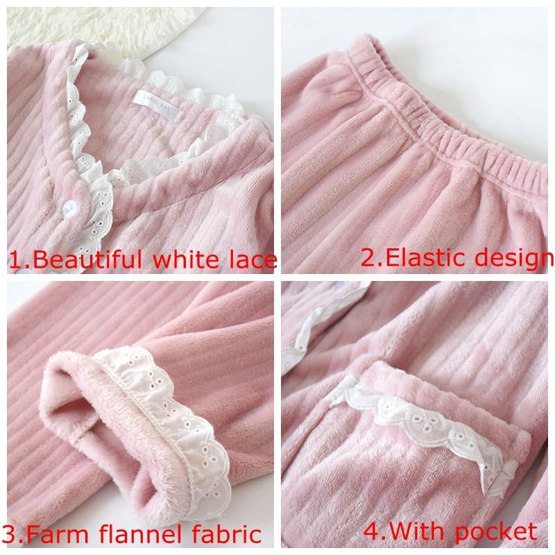 Image 5 - JULYS SONG New Fashion Warm Flannel Pajamas Set Women Winter Autumn Pajama Sleepwear Lace Pink  Pajamas Thick Warm SleepwearPajama Sets   -