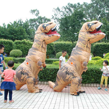 Adult Kids Halloween Cosplay T REX inflatable Dinosaur Costume Dino Jumpsuit Fancy Dress Halloween Costume for Women Men