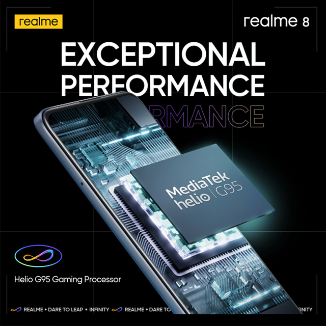 """[World Premiere In Stock] realme 8 Smartphone 64MP Quad Camera Helio G95 6.44""""inch AMOLED Display 5000mAh Battery 30W Charge 4"""