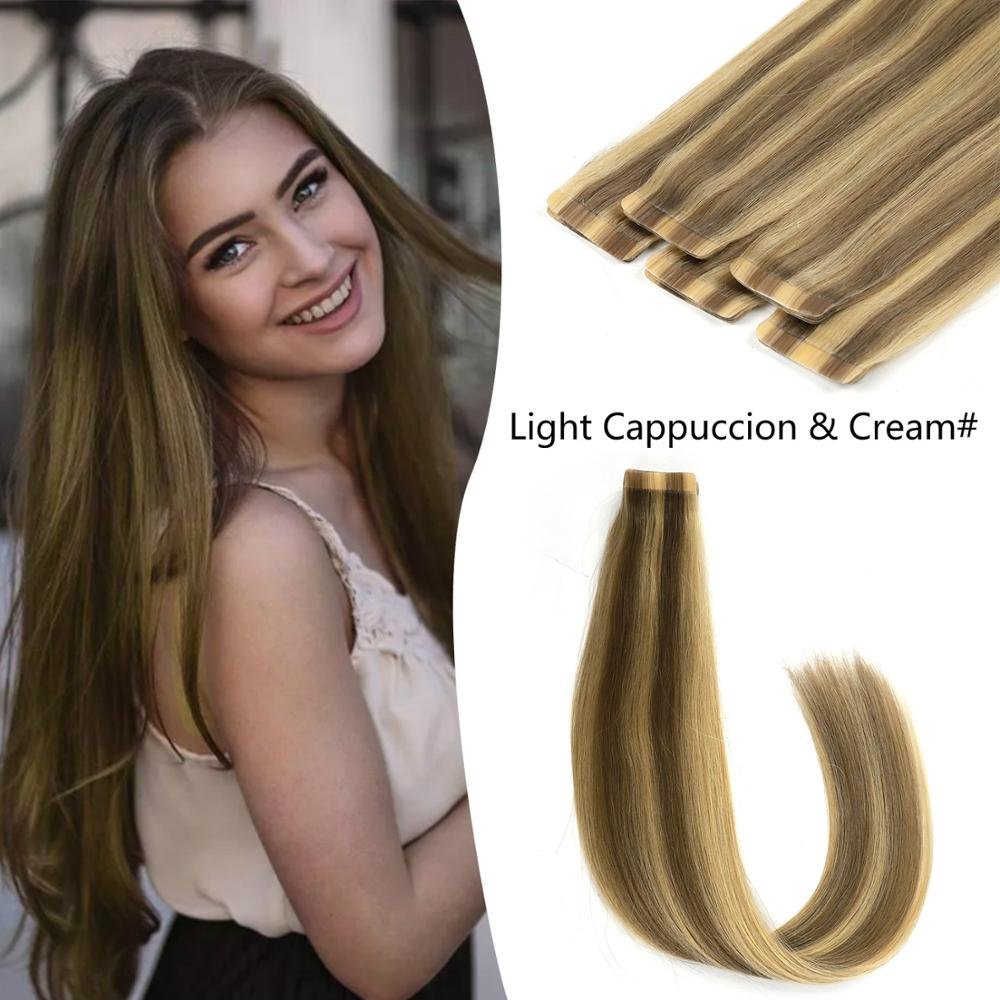 K.S WIGS 20'' Newest Ombre Extensions Color Light Cappucino & Cream 100% Remy Seamless Tape In Human Hair Extensions 2.5g/pc