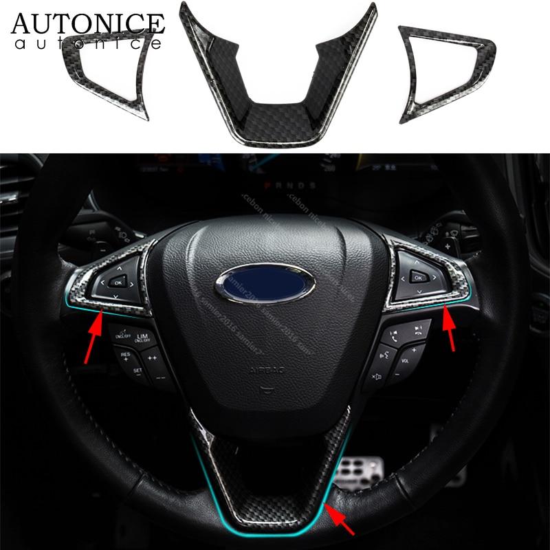 Ajuste para ford Fusion Mondeo Edge s-max accesorios 2015 2016 2017 2018 ABS 3 uds color de fibra de carbono volante cubierta ABS