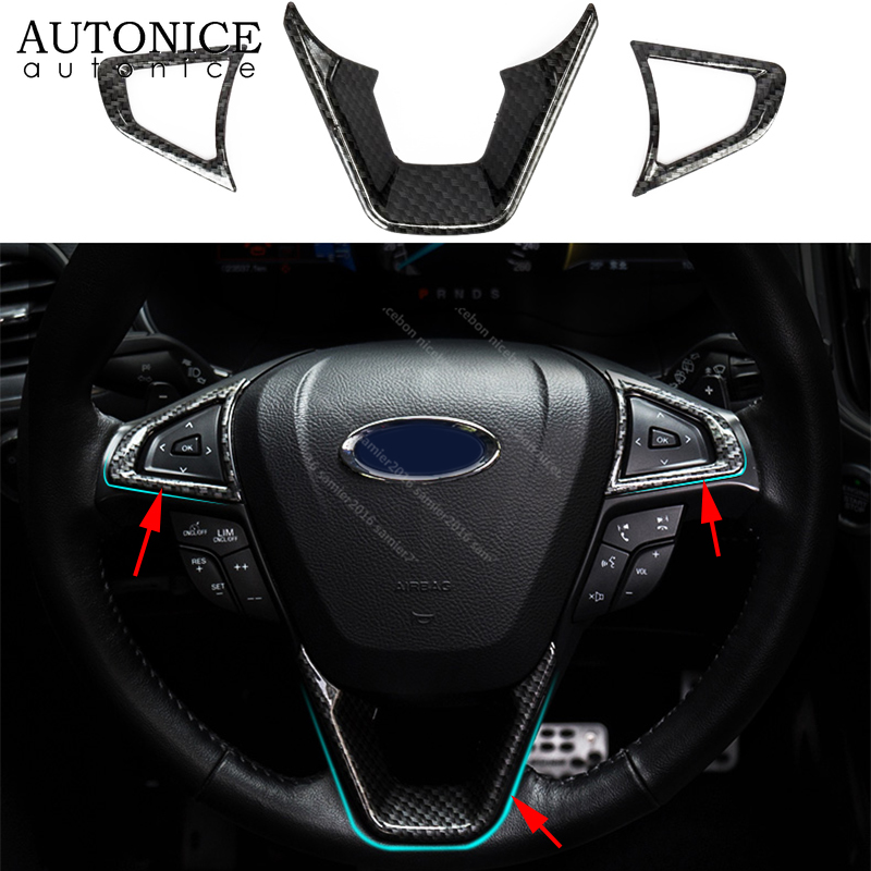 Fit For Ford Fusion Mondeo Edge S-Max Accessories 2015 2016 2017 2018 ABS 3pcs Carbon Fiber Color Steering Wheel Cover ABS