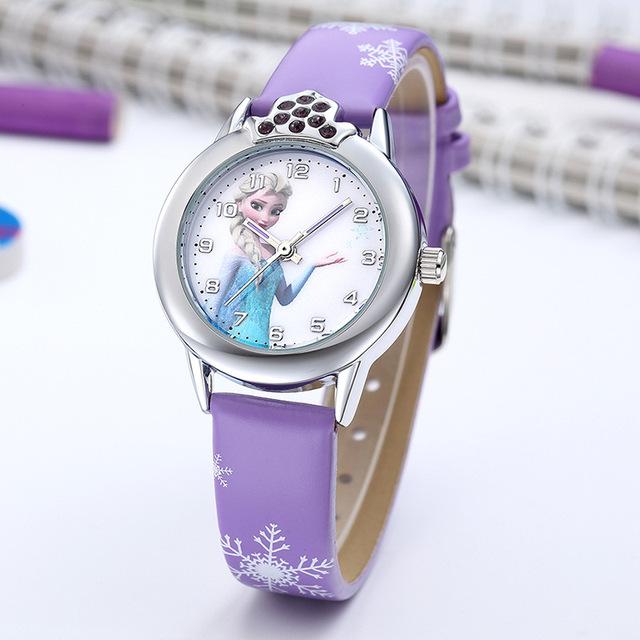 Elsa Watch Girls Elsa Princess Kids Watches Leather Strap Cute Children's Cartoon Wristwatches Gifts for Kids Girl 2