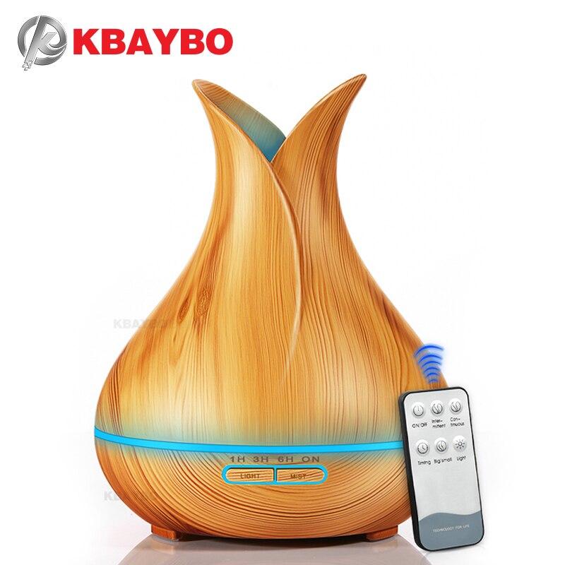 Kbaybo 400ml aroma difusor de óleo essencial umidificador ar ultra com grão de madeira 7 cores em mudança luzes led para casa escritório