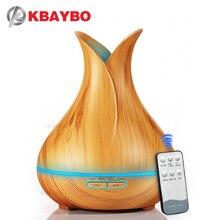 Kbaybo umidificador de ar, ultrassônico, 400ml, difusor óleo essencial, aroma, com grão de madeira, luzes led com mudança de 7 cores para o escritório casa casa