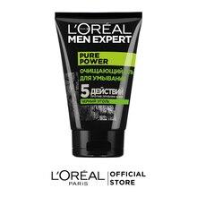 L'Oreal Paris Очищающий Гель для умывания Men Expert 5 действий против проблем кожи с черным углем, 100 мл