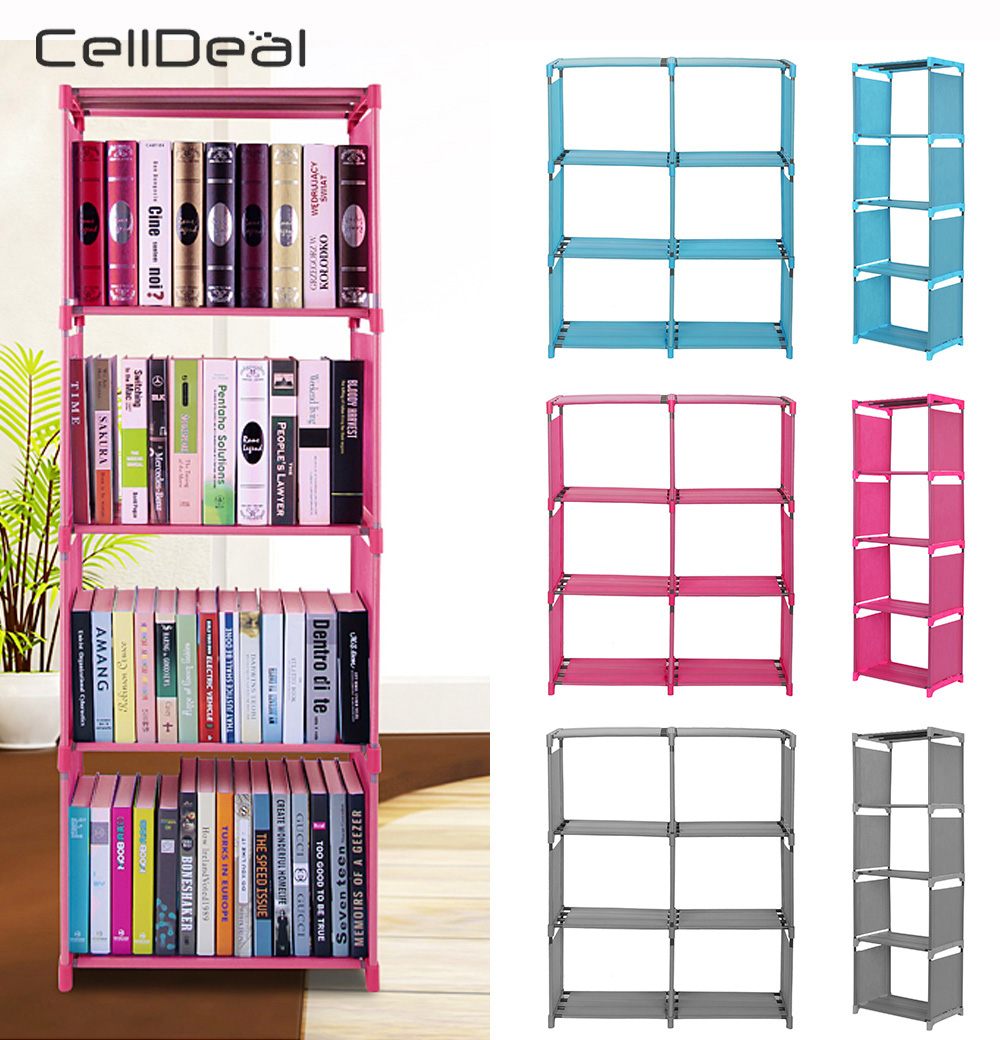 Multi-Tier Bookshelf Storage Shelf For Books Plants Sundries DIY Combination Cabinet Furniture Fabric Plastic Bookcase