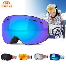OBAOLAY Kids Ski Goggles Sunglasses UV400 Anti-fog Double Layers Ski Glasses Snowboard Skating Windproof Children Snow Eyewear
