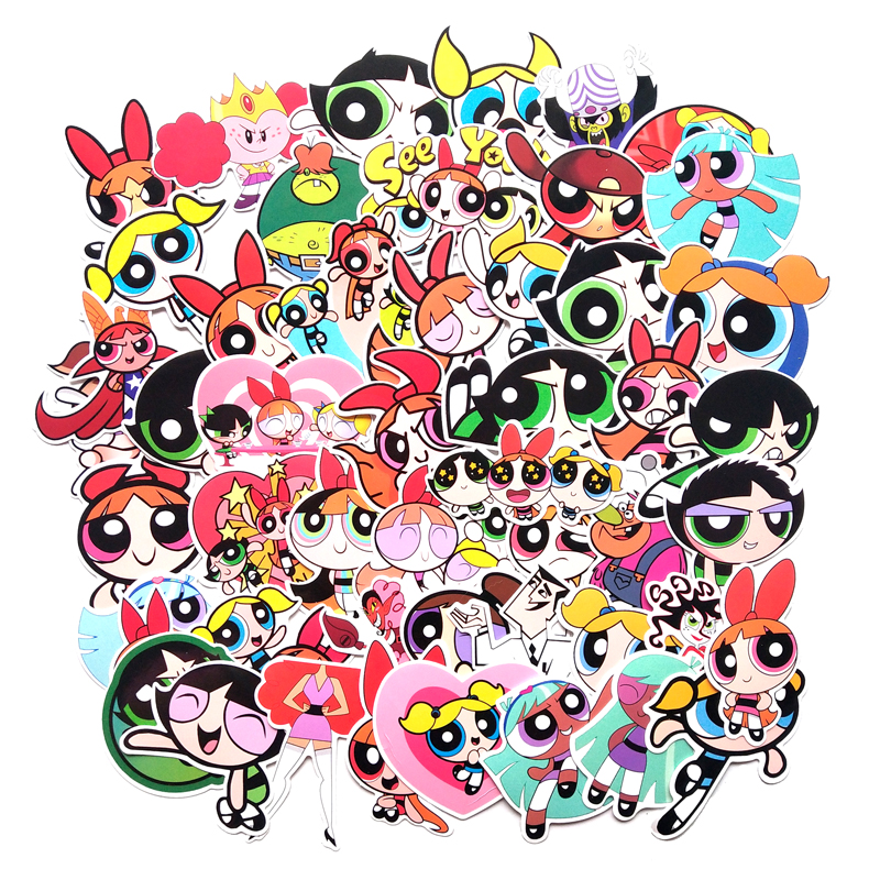 50Pcs/set The Powerpuff Girls PVC Waterproof Fun Sticker Toy Luggage Sticker Motorcycle And Luggage Notebook  Toy  Sticker