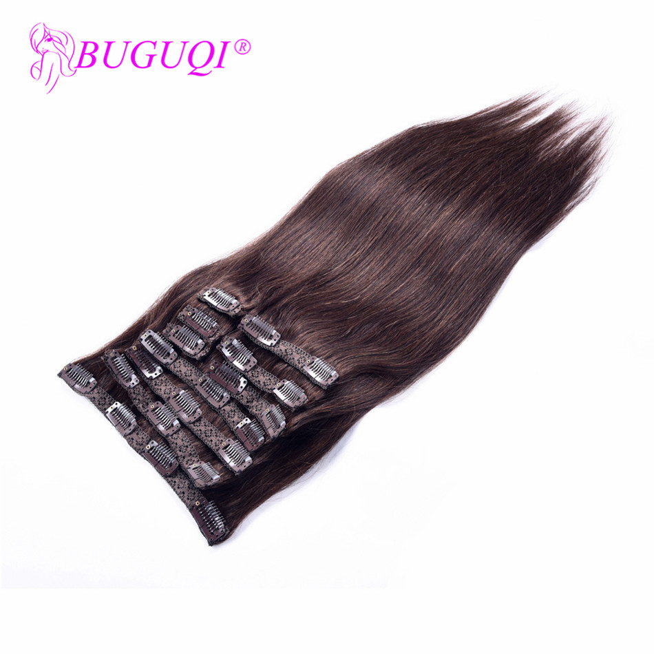 BUGUQI Hair Clip In Human Hair Extensions Indian #2 Remy 16 To 26 Inch 100g Machine Made Clip Human Hair Extensions