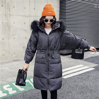2019 New Winter Women's White Duck Down Long Sleeve Down Jackets Fashion Ladies Windproof Warm Jackets Coats
