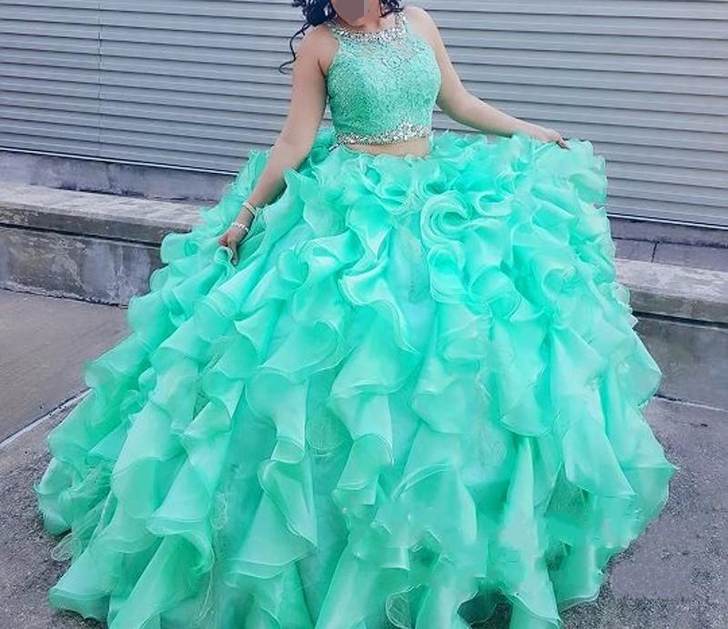 Two piece Lace Turquoise Quinceanera Dresses With Beaded Crystal Organza Ball Gown Sweet 16 prom Dresses vestidos de 15 anos
