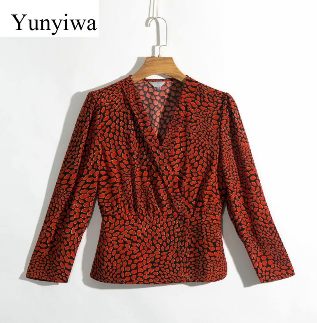 2020 New Leopard Print Long Sleeve Slim Fit Shirt Womens Blouse Tops Sexy Party Blouses Clothes Blusas Camisas Mujer