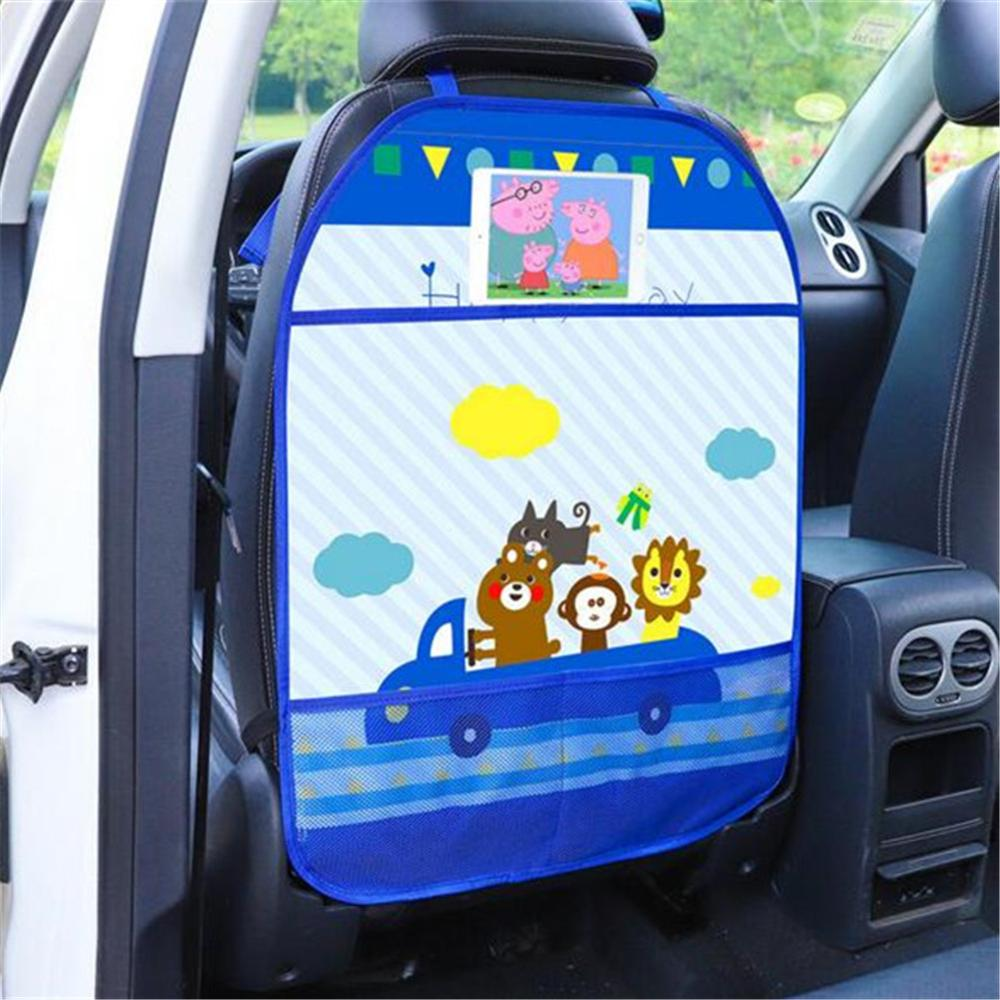 Baby Cartoon Car Seat Back Protector Car Organizer Tablet Stand Hanging Bag Car Storage Holder Kick Mat Baby Care Accessories