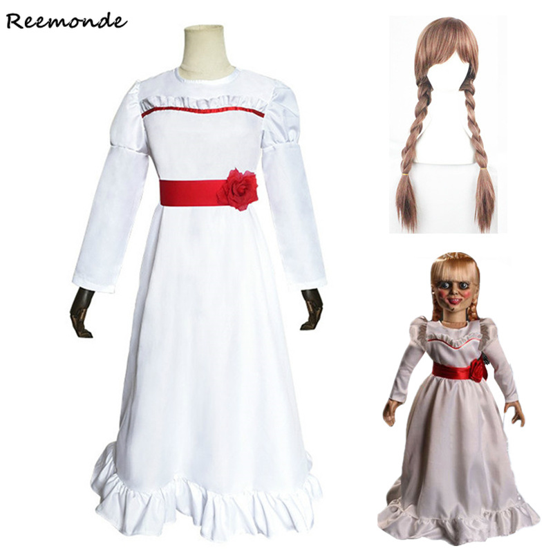 Movie Annabelle Dress Cosplay Costumes Ghost Doll White Princess Dress Skirt  Women Girls Kids Wig Hair Halloween Uniforms