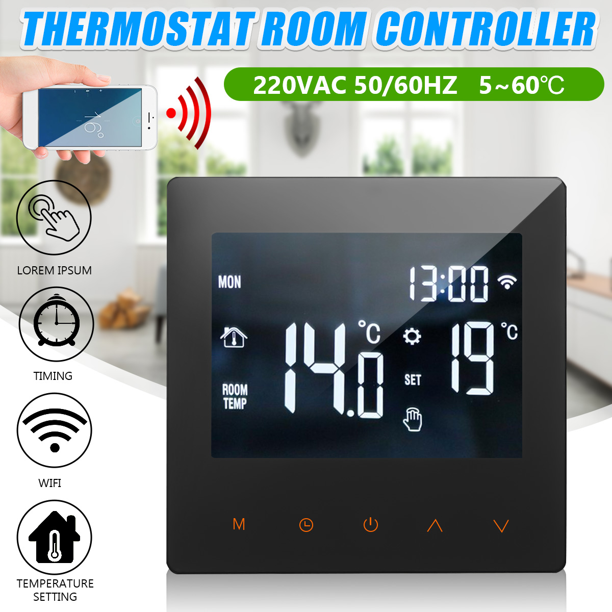 Becornce 220V 50/60HZ Smart Digital WiFi Temperature Controller Water Floor Heating Touch Screen Thermostat Room Controller
