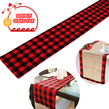 Table Runner Cotton Burlap Buffalo Check Double Sided Plaid Table Runner for Christmas Birthday Party Decoration 14x72inch