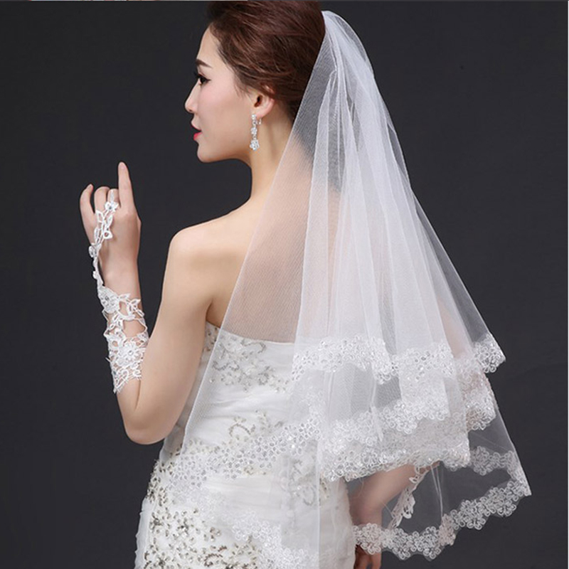 Wedding Veils 1.3/2.5M 4.3/8.2Ft Sequins Lace Edge Bridal Veil Wedding Accessories Mariage Bride Welon Wedding Veil