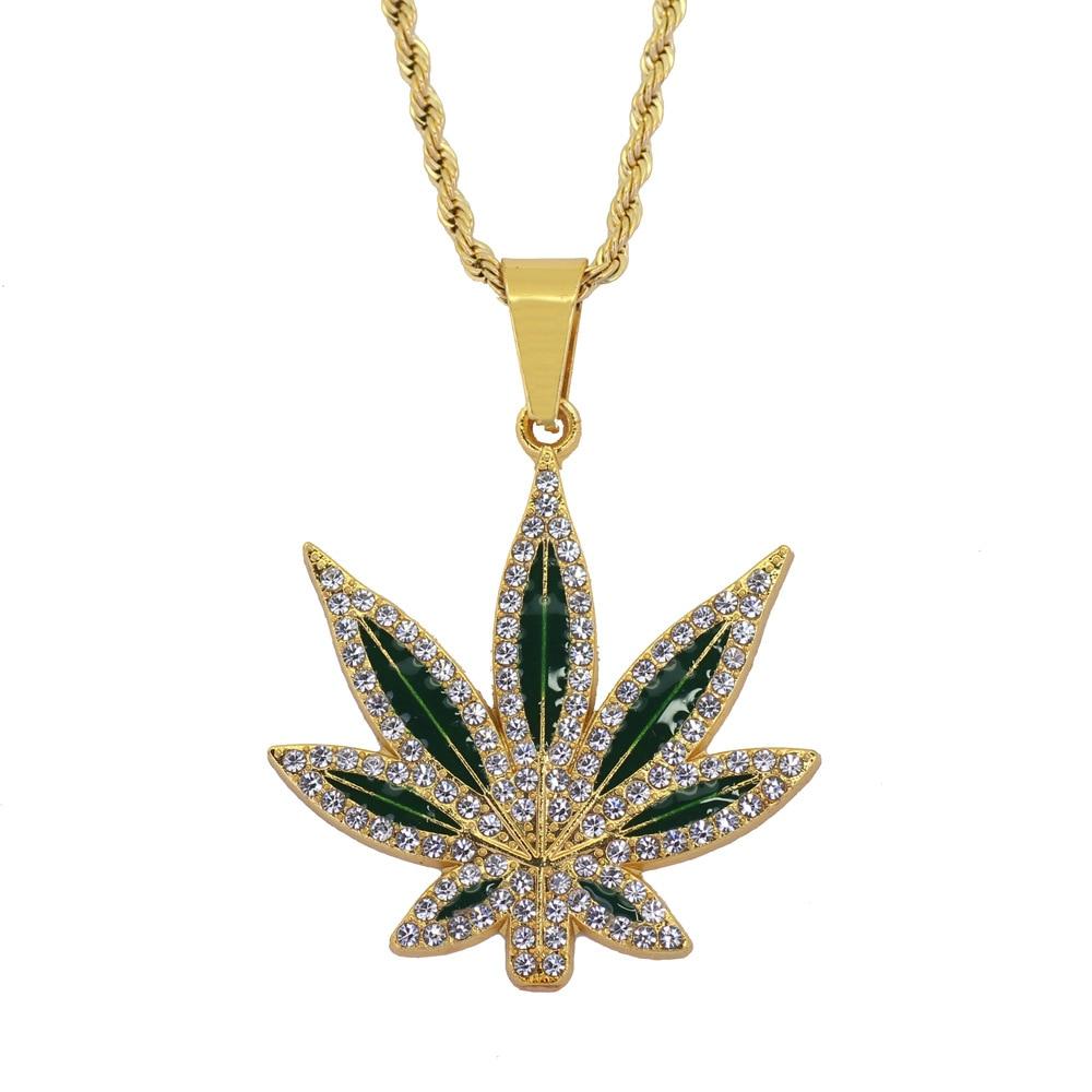 Cuba Hemp Leaf Necklace Hip-hop Rock Street Zinc Alloy Gold Chain Colored Glaze Pendant Fashion For Man Jewelry Christmas Gift