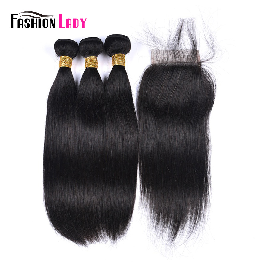 Fashion Lady Pre-Colored Malaysian Hair Bundles With Closure Straight Hair Bundles With Closure Natural Color 1b# Non-Remy