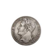 Pièce commémorative Leopold Premier Roi Des belgique, 5 Francs, Collection de Souvenirs, décoration de maison, cadeau artisanal, 1838