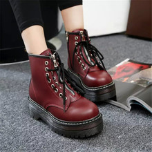 2019 shoes woman summer PUNK ankle boots for Martin Boots Thick and non-slip womens black wine red brown