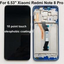 """6.53 """"Xiaomi Redmi Note 8 Pro LCD 디스플레이 스크린 + Redmi Note 8 Pro LCD 용 프레임이있는 터치 스크린 디지타이저"""