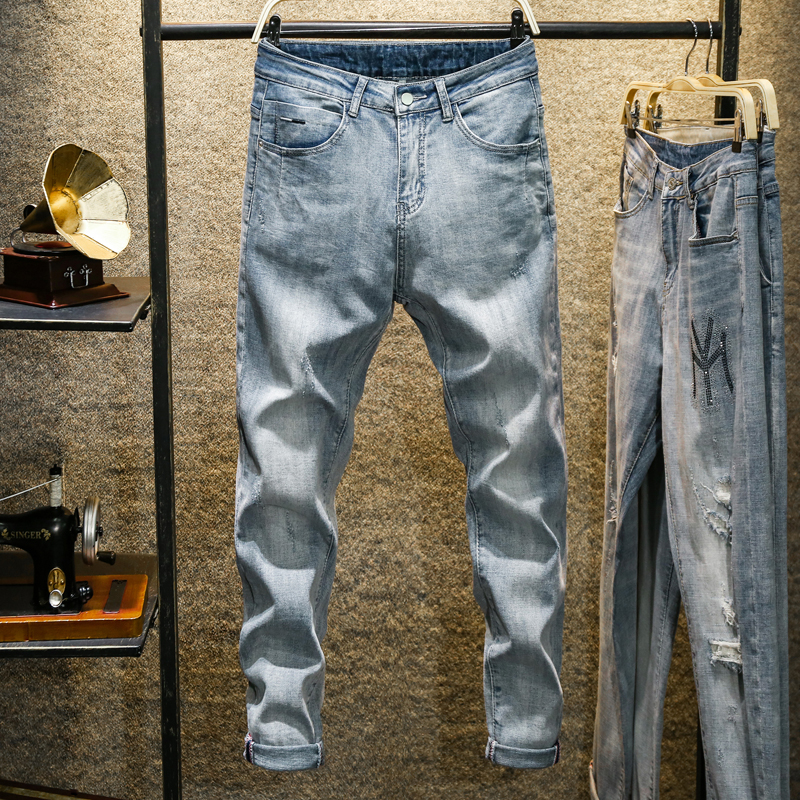 Men Jeans Light Blue Stretch Harem Pants Relaxed Tapered Jeans Streetwear Man Trousers Casual Denim Jeans Male Cowboys Spring 11