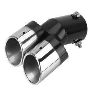 Image 2 - Universal escape do carro guarnição silenciador pipetail acessórios do carro aço inoxidável curvo dupla saída decoração do carro cromo tubo de cauda
